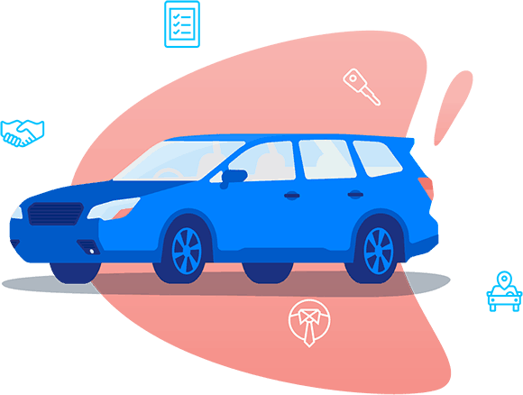 drawn car with icons and pink bubble