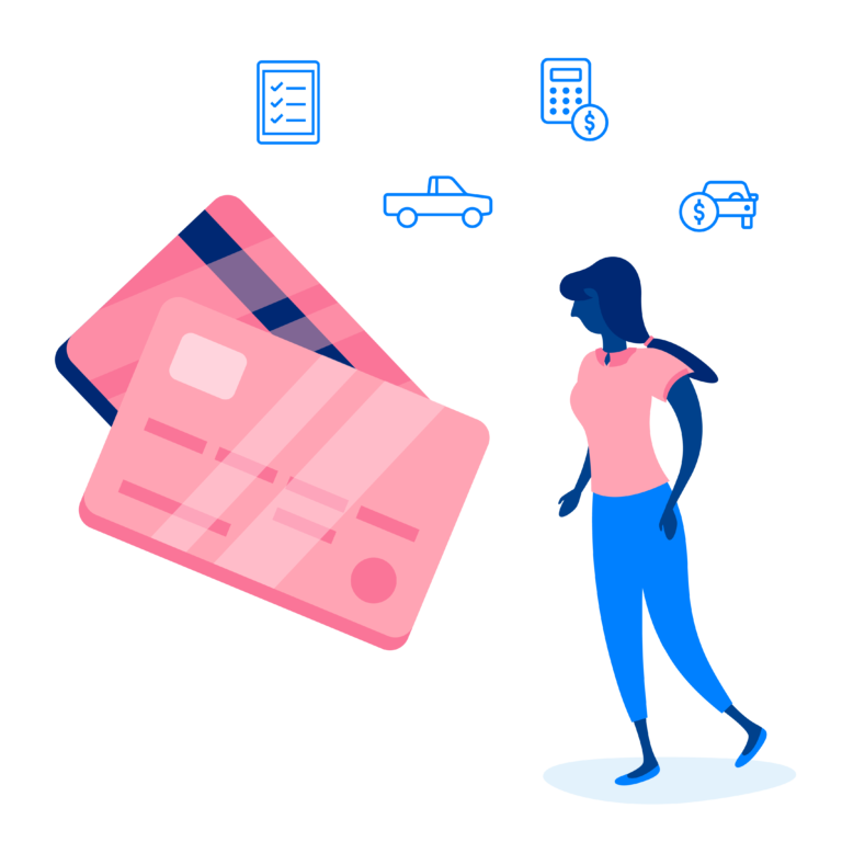 drawn person with over sized credit cards floating