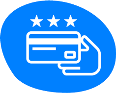 credit card with 3 stars and a hand