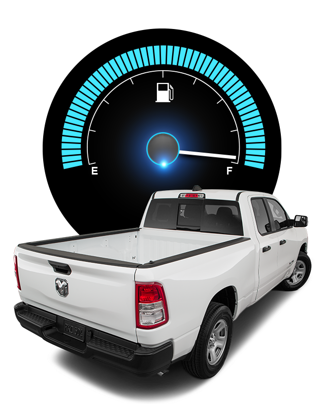 white truck and fuel gauge